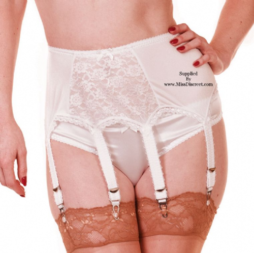 Luxurious White Satin and Lace Panel Deep Suspender Belt with 6 Straps and Metal Clasps